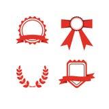 Red award labels set Stock Image