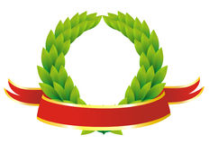 Red award ribbon and laureate wreath Royalty Free Stock Image
