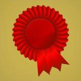 Red award ribbon rosette on gold background. Vector illustration Stock Images