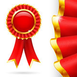 Red award ribbon Stock Photos