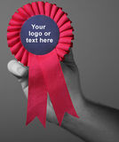 Red award ribbons badge. Red award ribbon badge. Success symbol and winning concept Royalty Free Stock Photo