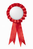 Red award ribbons badge Stock Photo