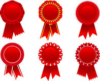 Red award rosette set Stock Photo