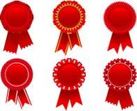 Red award rosette set. Vector illustration of red award rosette set Stock Photo