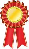 Red award seal rosette Stock Photo