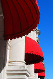Red Awnings. Decorate the front of an upscale hotel in Houston Texas Stock Photos