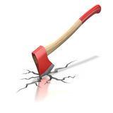 Red axe in the cracked floor Royalty Free Stock Photos