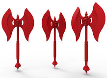 Red axes illustration. 3D rendered illustration of multiple red axes. The objects is isolated on a white background with shadows Stock Image