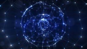 Red azul abstracta hermosa de la esfera del holograma que hace girar con las llamaradas inconsútiles Animación colocada 3d de vir libre illustration