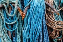 Red azul de la pesca Foto de archivo libre de regalías