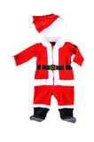 Red baby santa costume. Isolated on white background. Red baby santa costume. Isolated outfit on white background Stock Photos