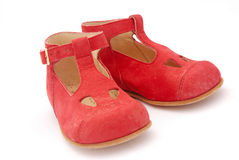Red baby shoes Stock Photo