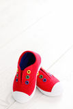 Red baby shoes Royalty Free Stock Images