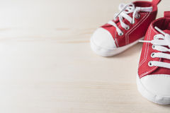 Red baby sneakers Stock Images