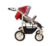 Red baby stroller royalty free stock photography