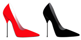 Red & back high heel. Illustration of red and black high heel shoes with metallic heel Royalty Free Stock Photos
