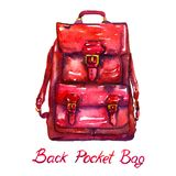 Red Back Pocket Bag with golden locks, isolated on white background. Red Back Pocket Bag with golden locks, hand painted watercolor illustration with handwritten royalty free illustration
