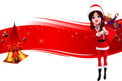 Red backgroound with santa girl and jingle bell Stock Photos