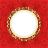 Red backgroun. D with gold frame Royalty Free Stock Photo