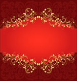 Red background. With ornamental plant Royalty Free Stock Photo