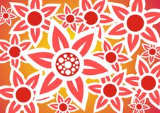 Red background. Red flowers with white contours on a red background Stock Images