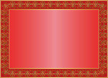 Red background. With golden  ornaments and copy space Stock Photos