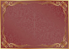 Red background. With gold ornaments Royalty Free Stock Photography