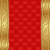 Red background. With crowns and golden ornaments Stock Photos