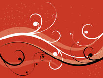 Red background. Elegant pattern and black and white curls on a red background Stock Photos