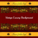 Red background with abstract golden flower Royalty Free Stock Photos