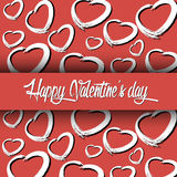 Red background of abstract hearts. Banner Happy Valentine`s Day. Red background of abstract hearts. Vector illustration Royalty Free Stock Photo