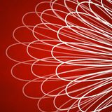 Red background with abstract lace pattern of white curved lines Stock Photography