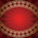 Red vector background with bended golden frame Royalty Free Stock Image