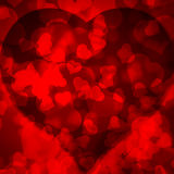 Red background blurred lights heart Stock Photography