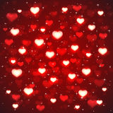 Red background with blurry hearts Royalty Free Stock Photos