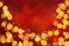 Red background and bokeh. Red christmas background bokeh.Orange lights on red background Stock Images