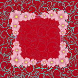 Red background with border and flowers. Illustration. Background with flowers and ornaments in red colors. Illustration Royalty Free Stock Photos