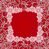 Red background with border, flowers and ornaments. Vector illustration. Royalty Free Stock Images
