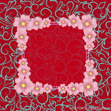 Red background with border, flowers and ornaments. Vector illustration. Stock Photo