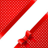 Red background with bow Royalty Free Stock Photography