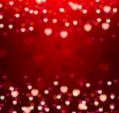 Red background with bright hearts Royalty Free Stock Photo