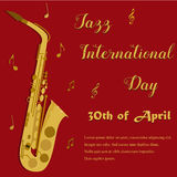 Red background with bright saxophone for the Jazz Internationl Day. Red background with bright yellow saxophone for the Jazz Internationl Day Royalty Free Stock Images