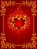 Red background with burning heart and frame Royalty Free Stock Photo