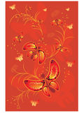 Red background with butterfly Stock Image