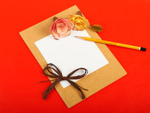 Red background. Card with flowers on red background Stock Image