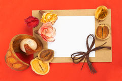 Red background. Card with shells, flowers and pencils on red background Royalty Free Stock Photos