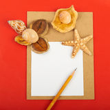 Red background. Card with shells and pencils on red background Royalty Free Stock Photo