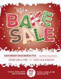 Red background Christmas bake sale flyer. Christmas bake sale flyer template with hand drawn cookie letters on a red background Stock Images
