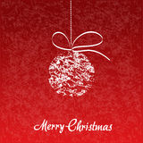 Red background, Christmas ball with bow Stock Image