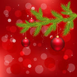 Red Background With Christmas Ball. Vector Royalty Free Stock Images